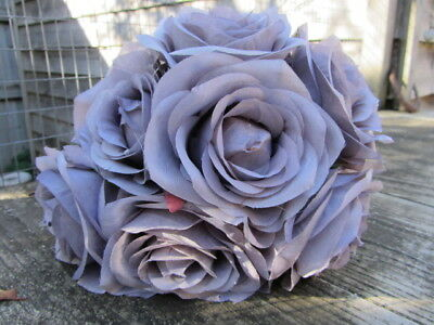 7 x VINTAGE SILVER GREY SILK ROSES 8cm TIED BUNCH / SMALL BOUQUET