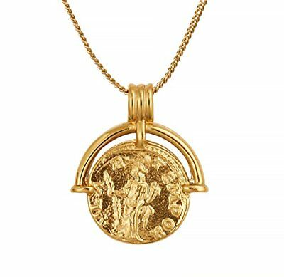 Coin Necklace 18K Gold Plated Vintage Coin Pendant Gold Necklace for Women Girls