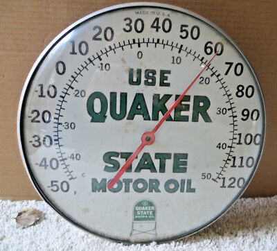 Vintage Quaker State Motor Oil Round Bubble Glass Thermometer