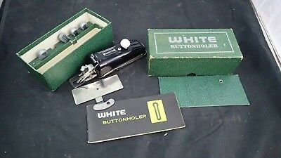 Vintage White Rotary Buttonholer Metal Cams Sewing Machine Attachment