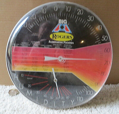 Vintage Rogers Automotive Finishes Round Bubble Glass Thermometer-Plastic Bubble