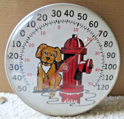 Vintage Dog By Fire Hydrant Round Bubble Glass Thermometer-Plastic Bubble