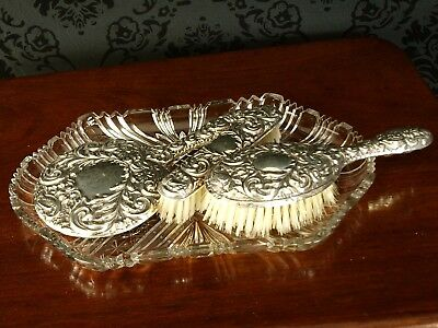 Antique Vtg Ladies Victorian Silver Grooming Set Brush Mirror & cut glass Tray