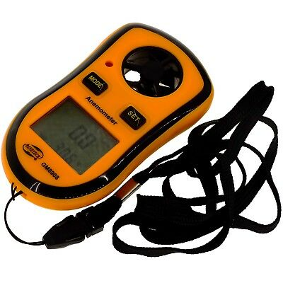 LCD Pocket Anemometer Wind velocity Meter Thermometer sailing + Optional Charger