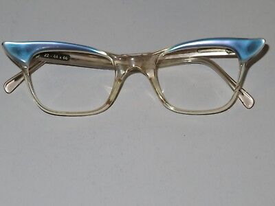 Vintage 1960's Glass / Spectacles Frames Ladies  Blue Winged  Edges No Lenses