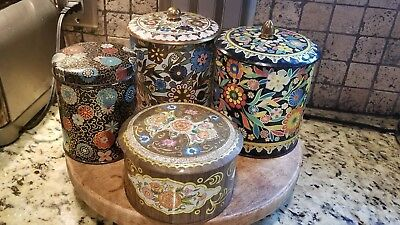 Vintage Lot of  3 DAHER + One more Tins Containers MADE IN ENGLAND Mid-Century