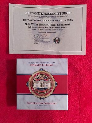 2018 White House Holiday Ornament - Donald Trump - 24k Gold Finish - MAGA!
