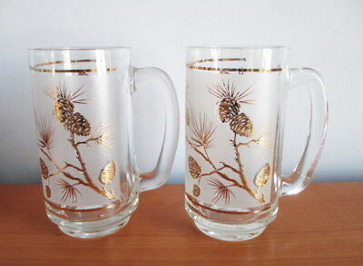 Libbey Dominion Glass Gold Pine Cone Beer Mug x 2 Frosted 1950s MCM Canada