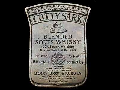 MB13154 VINTAGE 1970s **CUTTY SARK** BLENDED SCOTS WHISKEY BOOZE BELT BUCKLE