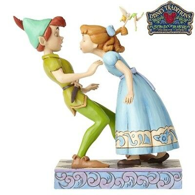 Disney Traditions Peter Pan, Wendy & Tinker Bell An Unexpected Kiss Statue New