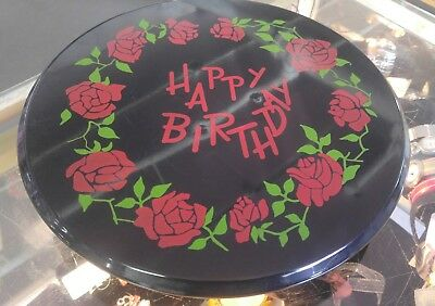 """Vintage 11"""" Metal Happy Birthday Spinning Musical Cake Stand (2.25lb)"""