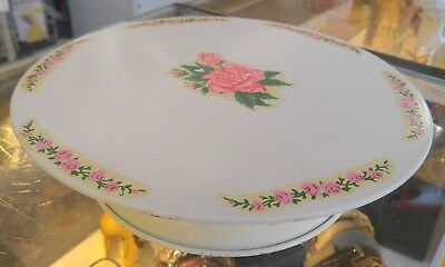 """Vintage 11"""" Metal Happy Birthday Spinning Musical Cake Stand Maspeth (2.25lb)"""