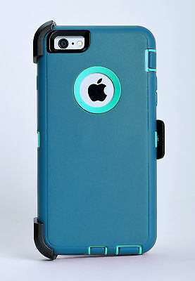 iPhone 6 iPhone 6s Hard Case w/Holster Belt Clip fit Otterbox Defender Teal/Blue