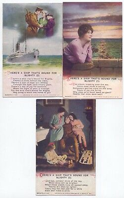 Bamforth Set of 3 Song Cards,Series 4994 There's A Ship That's Bound  (BC)