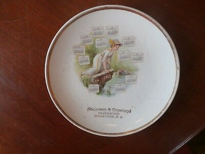 Vintage Antique 1913 Advertising Calendar Plate Northville NY Pharmacists