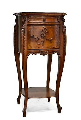 Antique French Carved Louis XV Style Walnut Night Stand Nightstand