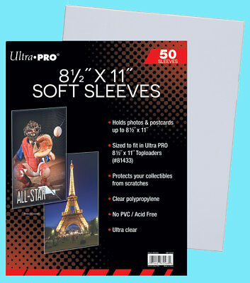 "50 ULTRA PRO 8.5""x11"" PREMIUM SOFT SLEEVES Fit Topload Photo Clear Poly 8-1/2x11"