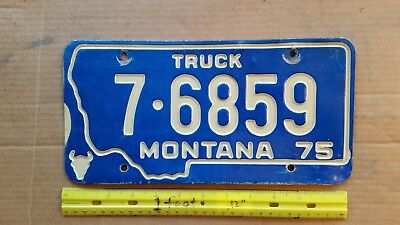 License Plate, Montana, 1975, Recessed Lettering, Truck, 7 - 6859, Skull