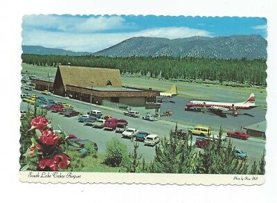 South Lake Tahoe CA Airport  postcard PSA Pacific Southwest Airline Electra