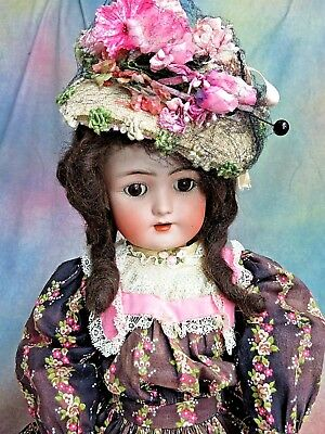 ANTIQUE German BISQUE DOLL Heinrich Handwrech S&H Victorian dress STAMPED BODY
