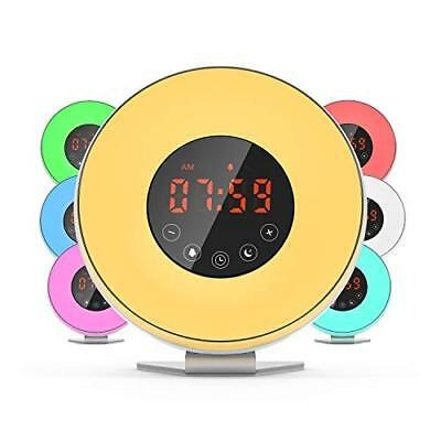 Dr.Meter Sunrise Alarm Clock - Digital LED Night Light Clock with 7 Color Switch
