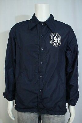 Vtg Adult SMALL Baylor University Medical Center TX Navy Snap Windbreaker Jacket