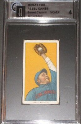 1909 T206 Sweet Caporal Baseball Card REBEL OAKES GAI 4 VG-EX Antique PSA 4?