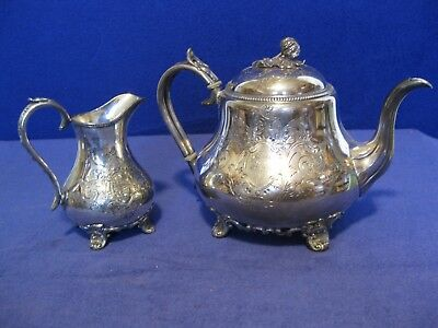 James Dixon & Sons Sheffield EPBM engraved Coffee/Tea pot and creamer dated 1865