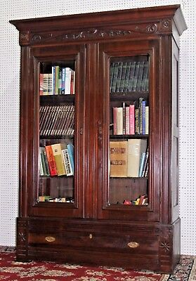 Antique American Victorian Carved Two Door Walnut Bookcase Display Case C1870