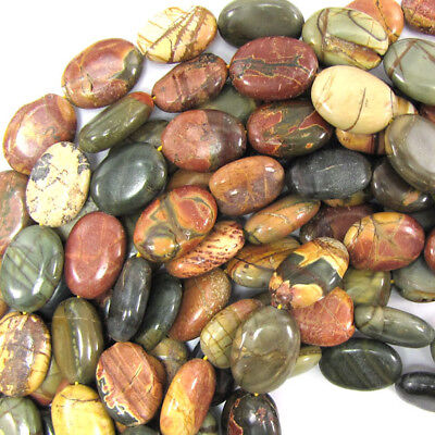 """18mm multicolor picasso jasper flat oval beads 15.5"""" strand S2"""