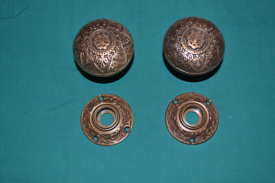 Antique Vintage Set Of Brass Door Knobs And Matching Brass Rosettes  #86