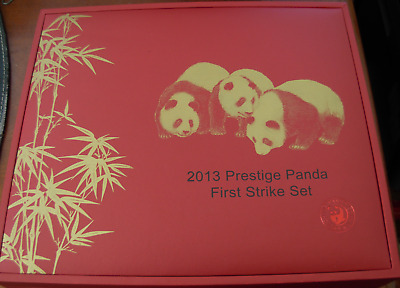 China 2013 Gold 5 Coin Full Prestige Panda First Strike Set All Coins PCGS MS70