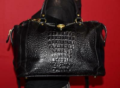 Vintage Brahmin Black Croco Leather Satchel Handbag Doctor Carryall Purse Bag