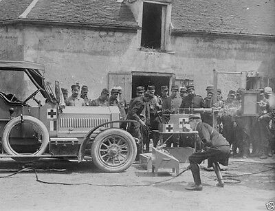 French soldiers with a mobile radiology vehicle World War I 8x10 Photo