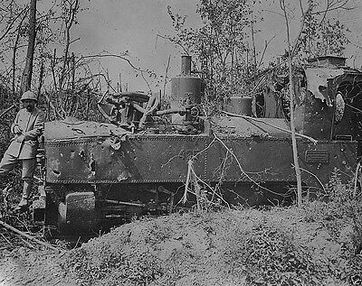 New 8x10 Photo- German locomotive train destroyed by French artillery Somme 1916