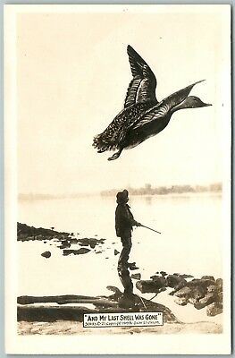 Exaggerated Duck Hinting Antique Real Photo Postcard Rppc