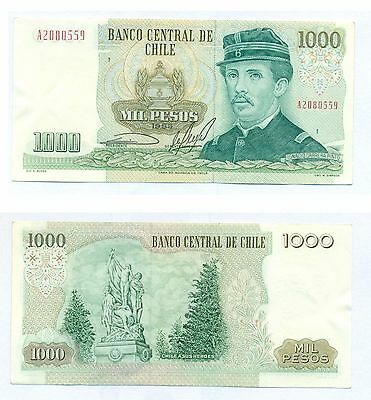 CHILE NOTE 1000 PESOS 1985 SERIAL A BLOCK 1 P 154c XF+