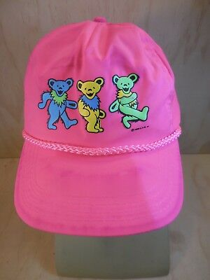 Vintage Original Grateful Dead Hat/cap Dancing Bears Neon Pink 1990