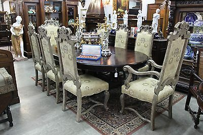 Antique Style Set of 8 Carved Country French Dining Chairs 2 Arm 6 Side chairs