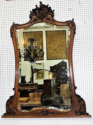 Antique Country French Walnut Louis XV Hand Carved Hand Beveled Mirror C 1870