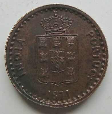 Portuguese India, Colonial Coinage, 1871 Copper 3 Reis, Luiz I, Rare