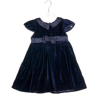Baby Girls dress NAVY VELVET- Traditional Style with Bow Detail-3-6,6-12,12-18..