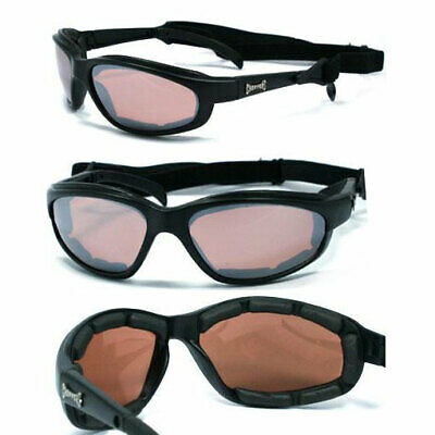 Choppers Motorcycle Foam Padded UV400 Sunglasses Goggles + Pouch AMBER LENS C18