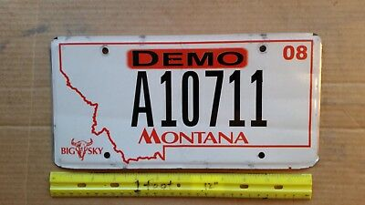 License Plate, Montana, 2008, DEMO,  Big Sky with Skull, A 10711, w/Paperwork