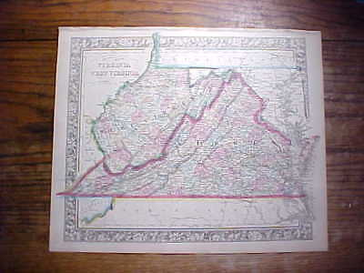 1863 Virginia & West Virginia County Map Large Hand Colored Mitchell's Atlas Xf