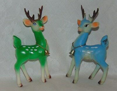2 Vintage Christmas Tall Reindeer Figures Moveable Heads Japan Soft Plastic