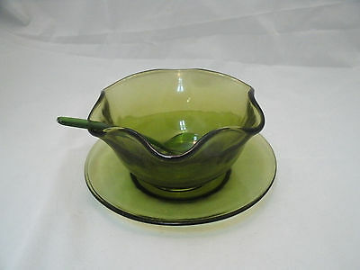 Vtg Indiana Glass OLIVE Green 3 pc Mayonnaise Set #2128 Condiment New in Box