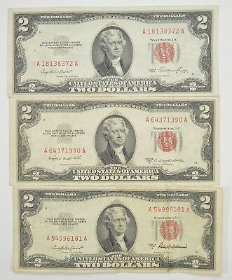 Lot (3) Red Seal $2.00 US 1953 or 1963 Notes - Currency Collection *274