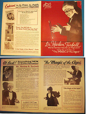 Dr. Harlan Tarbell-Magic of the Ages Brochure-ca-1930s-Photo with Wand-vFINE-Op