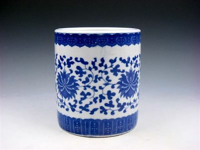 Blue&White QINGHUA Porcelain Floral Patterns Painted LARGE Brush Pot #03041822